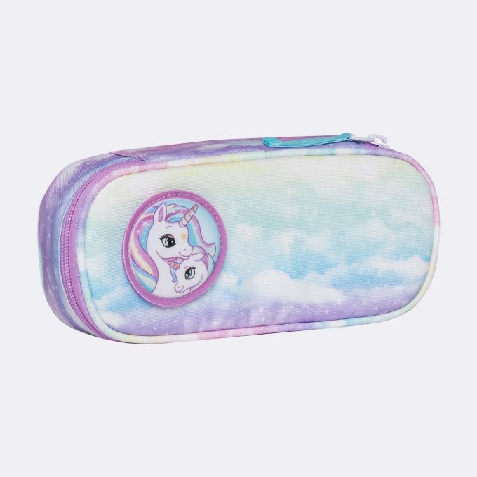 Oval pencil case, for 1-2nd grade, Unicorn