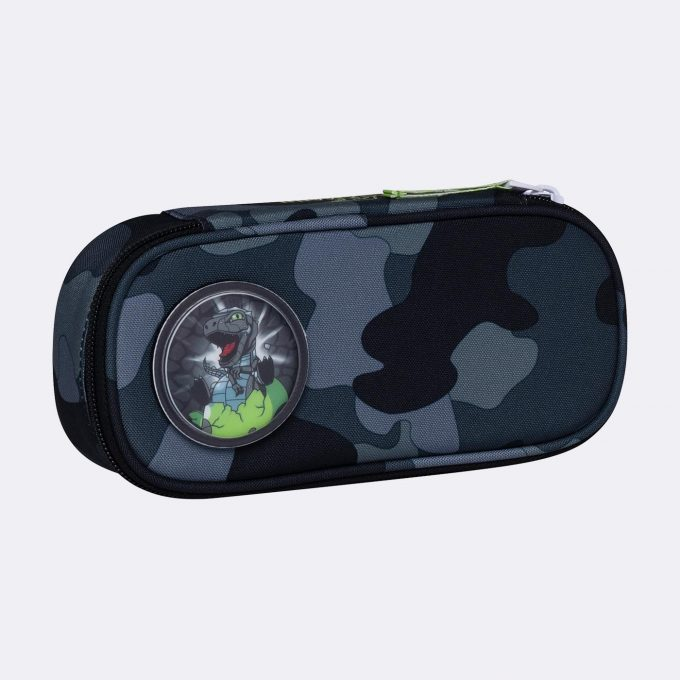 Oval pencil case, for 1-2nd grade, Camo Rex