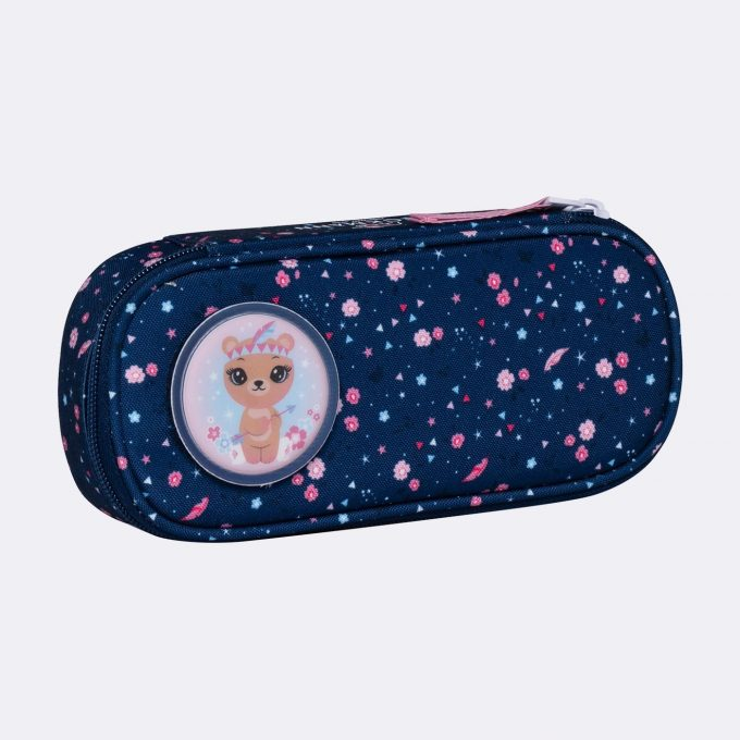 Oval pencil case, for 1-2nd grade, Forest Deer Blue