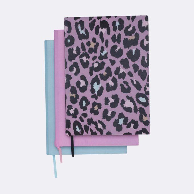 Elasticated book cover 3 pack, Dark Safari, Purple, Mint