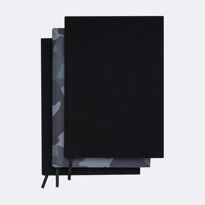 Elasticated book cover, 3 pack, Camo and black