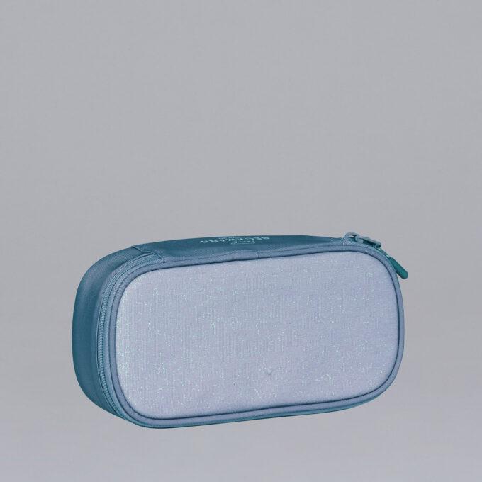 Sport Junior oval pencil case, Blue Glitter
